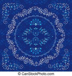 ornamental, blomstret konstruktion, ramme, elementer