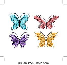 ornamental, borboletas, projeto fixo, seu