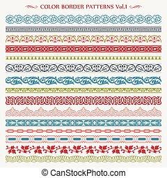 Ornamental border frame line vintage color patterns 1
