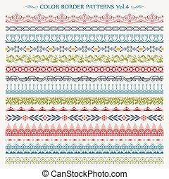 Ornamental border frame line vintage color patterns 4