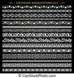 Ornamental border frame line vintage patterns 2 vector