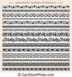 Ornamental border frame line vintage patterns 2 vector