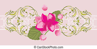Ornamental border with pink flower