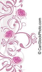 Ornamental border with pink roses. Vector illustration