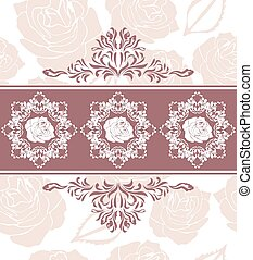 Ornamental border with roses on the seamless floral background