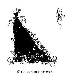 ornamental, bosquejo, negro, diseño, vestido, su