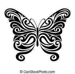 Ornamental butterfly silhouette.