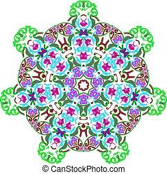 ornamental, cachemira, ornamento, tradicional, plano de fondo, floral, design.