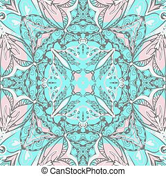 ornamental, cachemira, pattern., bandanna., mano, tradicional, artístico, plano de fondo, dibujado
