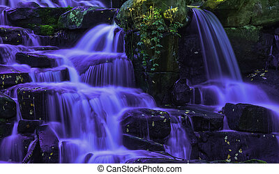 Ornamental Cascade waterfall in Virginia Water, Surrey,...