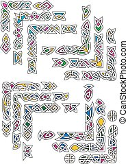 ornamental, celta, segmentos, coloridos, cantos
