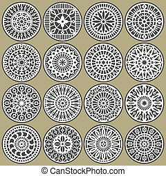 A set of ornamental circles stencils with natural and geometric elements.