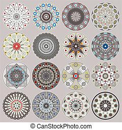 Ornamental circles decors - A set of ornamental circles with...