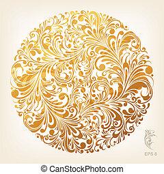 ornamental, cirkel, guld, mønster