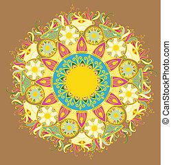ornamental, cirkel, snørebånd, omkring, pattern.delicate