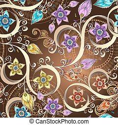 Ornamental colored floral pattern with flowers, doodles and paisley. Seamless vector background.