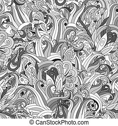 Ornamental colored seamless floral pattern with doodle flowers. Vector