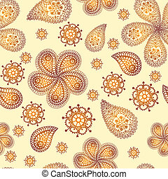Ornamental colored seamless floral pattern
