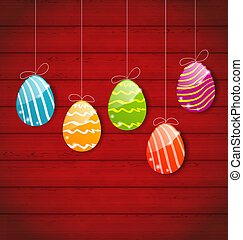 ornamental, colorido, de madera, huevos, tres, Plano de...