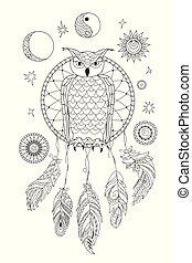 ornamental, colorido, dreamcatcher, negro, adulto, búho blanco
