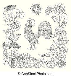 ornamental, colorido, sol, símbolo, gallo, negro, adulto, blanco