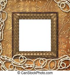 ornamental, contas, frame madeira, leafage, fundo