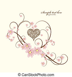 ornamental, corazón, texto, marco, lugar, su