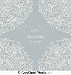 Ornamental corner lace frame. Background for celebrations,...