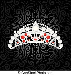 ornamental, coroa, experiência preta, prata, brilhar