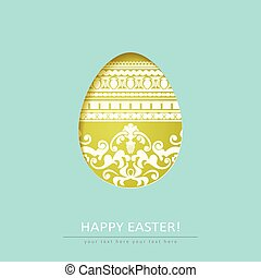 Ornamental cut out egg isolated on blue background