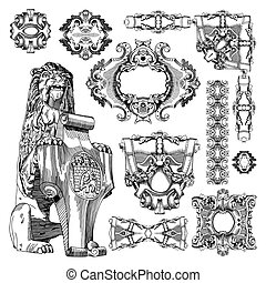 ornamental design element of Lviv historical building,...
