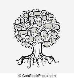 ornamental, design, träd, din, rötter