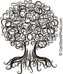 ornamental, diseño, árbol, su, raíces