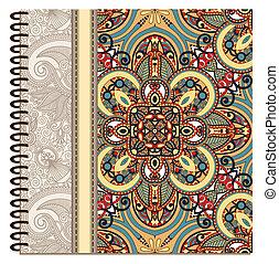 ornamental, diseño, cuaderno, cubierta, espiral