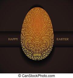 ornamental, dorado, greeting., pascua, egg., feriado, bandera, feliz