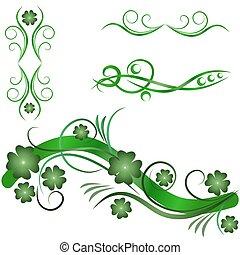 ornamental, elementos, desenho