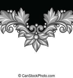ornamental, elements., fundo, floral, barroco, prata