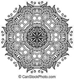 ornamental, encaje, ornamento, patrón, círculo, negro,...