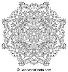ornamental, encaje, ornamento, patrón, círculo, negro, ...