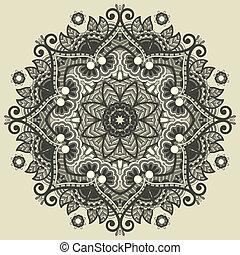 ornamental, encaje, patrón geométrico, ornamento, mantelito...