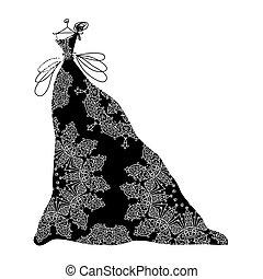 ornamental, esboço, pretas, desenho, vestido, seu