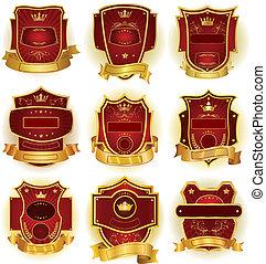 ornamental, etiketter, samling, vektor