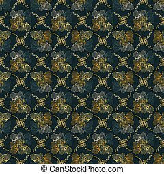 Ornamental Fall Floral Seamless Vector Pattern Background