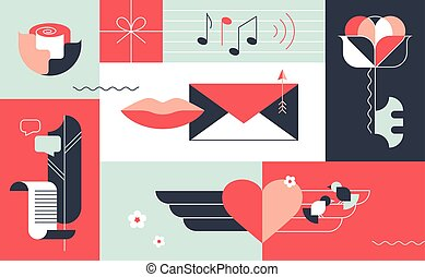 Ornamental flat and geometry design romantic love concept, Saint Valentine 14th February greeting card.