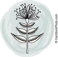 ornamental, flor, elemento
