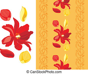 Ornamental floral border with tulips and rose petals. Vector...