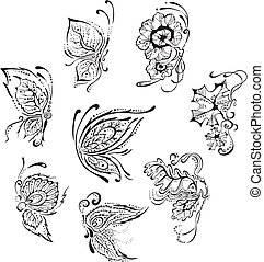 Ornamental floral butterflies