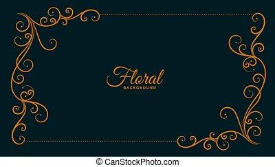 ornamental floral corner frame dark background design