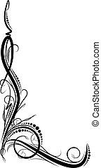 Ornamental floral corner. Vector illustration for your design or tattoo.