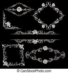 Ornamental floral frames set